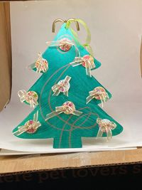 Wood Christmas Tree with Button Ornaments and bows $12.00