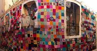 "This is # 8 Liberty Street in the old quarter of Zaragoza , Spain �€"" yarnbombed on Thursday Sept 13 by 100 woman . 3 great Things About This 1 . This yarnbombing"