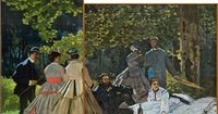 """two panels from """"Luncheon on the Grass"""" by Claude Monet; the work was never fully finished, badly damaged, and monet would change the colors and styles of the dresses to make sure they were absolutely au courant"""