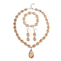 3 Piece Set - Simulated Morganite Necklace (Size 21 with 2.5 inch Extender), Hook Earrings and Stretchable Bracelet (Size 7) in Silver Plated Set of three jewellery pieces Studded with Champagne Glass crystals (412.50 Ct) neckla...