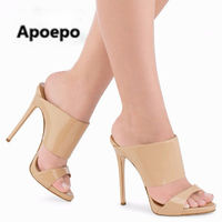 Apoepo nude patent leather high heel shoes for woman sexy open toe cutouts slipper summer new fashion thin heels slides sandal