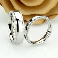 His And Hers Stainless Steel Wedding Band Set, 6mm, 4mm, Milgrain Ring, Stainless Steel Promise Ring Set, Steel Ring For Couple $71.00