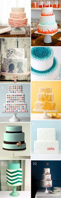 So many cakes, so many calories �Ÿ™' 1. Nine Cakes image by Jen Huang | 2. Cocoa & Fig via SMP | 3. My Sweet & Saucy| 4. Bobbette & Belle | 5. Martha Stewart Weddi