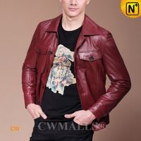 Haute Couture | Men Red Leather Biker Shirt CW807333 | CWMALLS.COM
