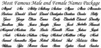 Most Popular Male and Female Names Just for: $13.99