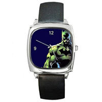 Batman, Capped Crusader on a Silver Square Watch with Leather Band [Watch] $32.00