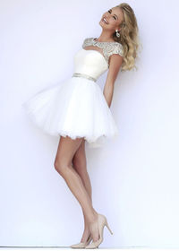 2015 Short Ivory Silver Cap Sleeves Beaded Ruched Prom Dress