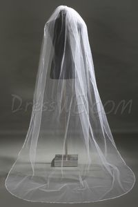 Brilliant Chapel Wedding Bridal Veil with Vintage Floral Edge
