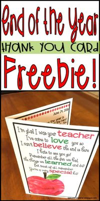 This download is for a FREE End of The Year Thank You Card! Directions are included in the download. You will need to print on card stock paper or cut and mount after printing on regular paper. I have also included a PowerPoint version of the inside of th...