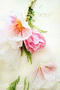 Handmade crepe paper and watercolor flowers.