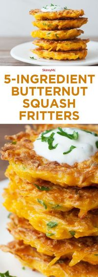 """Our 5-Ingredient Butternut Squash Fritters recipe is quick and easy. Make sure to prepare a big stack of them, though�€""""it's impossible to eat just one!"""