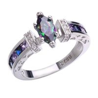 Natural Mystic Fire Rainbow Stone Ring Engagement Wedding Ring Solid Silver Jewelry Fine Jewelry Women Ring Classic $11.99
