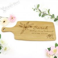 Wedding Personalised Engraved Cheese Wooden Paddle Chopping Board