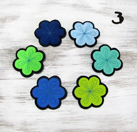 Colorful Flowers Felt Coasters -6 Pieces /Natural Design Coasters with Decorative Stitches/Table Decor $9.90