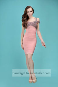 Multi Crisscross Off-The-Shoulder Pink Bandage Dress 2014