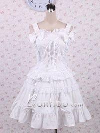 White Bow Long-sleeve Knee-length Sweet Lolita Dress