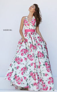 A-line Backless Floral Pink Prom Dress By Sherri Hill 50472