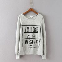 Casual Oversized Printed Scoop Neck Long Sleeves Alphabet Spring Top Hoodie - Discount Fashion in beenono