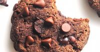 Healthy Low-Carb Double Chocolate Chip Cookies -- SO chewy & just 65 calories! Sugar-free, gluten-free & clean eating too!