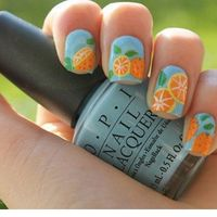 Citrus orange nail art.