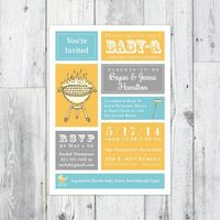 Baby-Q Shower Invitation Printable, BBQ Baby Shower, Co-ed shower    Perpetually Daydreaming Designs