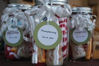 """Love this idea for Christmas gifts for friends: Pampering in a jar �€"""" warm fuzzy socks, lip balm, hand lotion or bubble bath, and some chocolates. Add a bit of ribbon and a tag."""