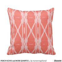 PEACH ECHO and ROSE QUARTZ Ikat Throw Pillow