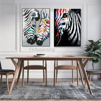 Zebra canvas oil painting acrylic painting pop art anilmal cuadros decor Wall Art pictures for living room home decor abstract art painting $69.00