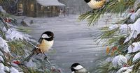 Winter scape with birds, Christmas Card.