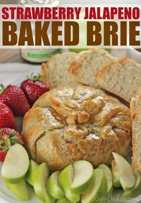 This Strawberry Jalapeno Baked Brie is an impressive, delicious appetizer that is really fast & easy to make - click over to Rose Bakes to see!