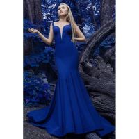Janique - Sleeveless Scalloped Deep V Neck Illusion Mermaid Gown W1711 - Designer Party Dress & Formal Gown