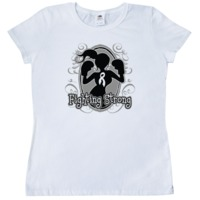 Lung Cancerr Fighting Strong Women's T-Shirt featuring our orignal (copyrighted) female silhouette wearing boxing gloves and an awareness ribbon ready to take on the fight against cancer