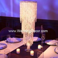 Wedding Centerpieces - Acrylic crystal centerpiece - crystal chandelier on stand with white crushed glass and silver studded votive candles