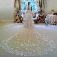 2016 New Style Wedding Veils Veu De Noiva Lace 3M Long Wedding Veils $58.99