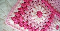 Bright Pink and Light Pink Flower Patchwork Baby Granny Square Afghan Blanket Baby Shower Gift. $35.00, via Etsy.