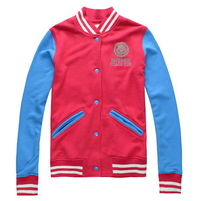 Red Blue Cotton Baseball Basic Jacket For Men and Women