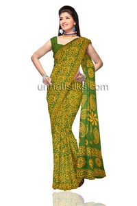 Blissful office green pure handloom Batik cotton sari