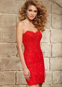Sparkly Strapless Scalloped Neck Red Beaded Lace Homecoming Dress