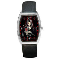 """Goth Punk """" Death Skelton"""" Skull with Roses on a Mens or Womens Barrel Watch ... $32.99"""