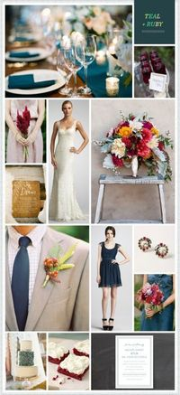 Love the idea of teal + blackberry or wine color + grey for the wedding colors :).