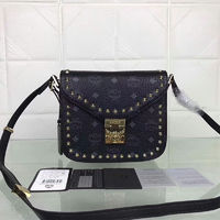 MCM Small Patricia Visetos Studded Shoulder Bag In Black