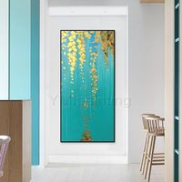 Gold art Abstract floral paintings on Canvas Original art acrylic Palette knife heavy texture painting extra large wall art $149.00