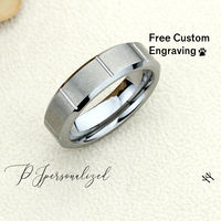 Grooved Tungsten Wedding Band Men, Custom Engraving 6mm Tungsten Ring Men, Tungsten Carbide Mens Promise Ring, Couple Gift $66.00