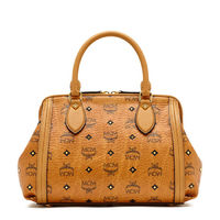 MCM Small Gold Visetos Studs Doctor Bag In Brown