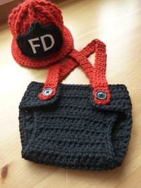 Crochet Little Firefighter Set