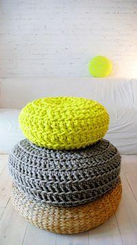 Floor Cushion Crochet Neon yellow por lacasadecoto en Etsy, �'�65.00