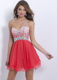 2015 One Shoulder Red Sexy Open Back Beaded Homecoming Dress