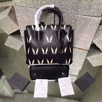 MCM Mini Milla Star Eyed Bunny Motif Tote In Black