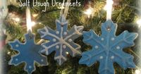Homemade Salt Dough Christmas Ornaments: 1 c salt 2 c flour 1c water Mix until formed into a smooth dough  Roll out your dough & cut with a cookie cutter into your desired shape! To dry the dough, place on a cookie sheet in 250 F oven for at least 3...