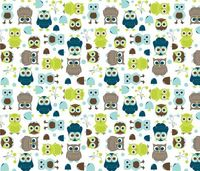 Owls, in Blue - In The Land of Boys fabric by aimeemarie on Spoonflower - custom fabric